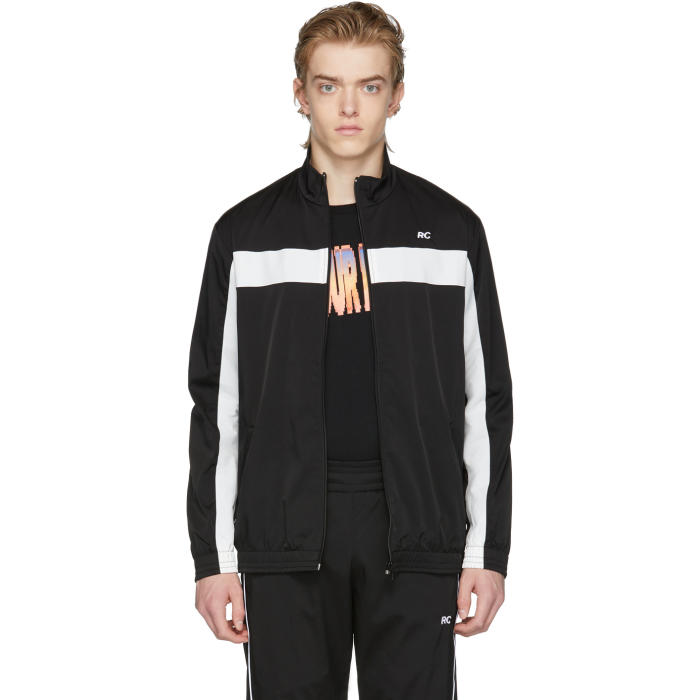 RESORT CORPS Resort Corps Black And White Rc Zip-Up Track Jacket in Black/White