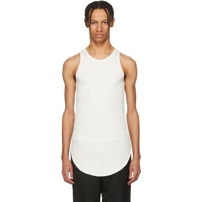 TAKAHIROMIYASHITA THE SOLOIST TAKAHIROMIYASHITA THESOLOIST. WHITE LONG TAIL TANK TOP