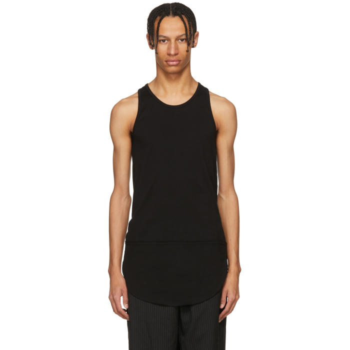 TAKAHIROMIYASHITA THE SOLOIST TAKAHIROMIYASHITA THESOLOIST. BLACK LONG TAIL TANK TOP