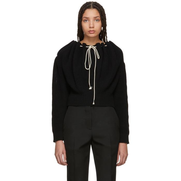 Off-Shoulder Pullover  in Black