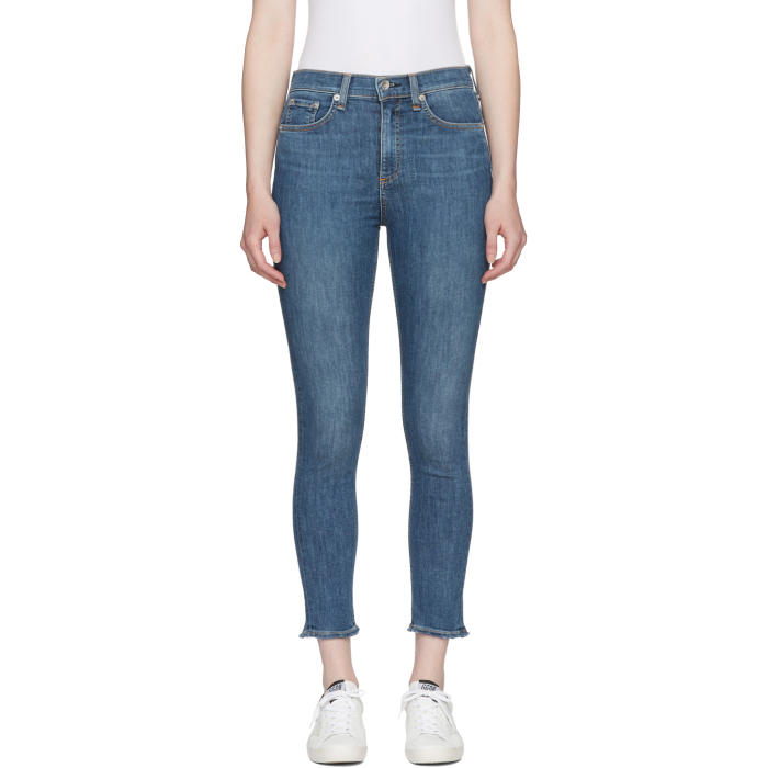 Rag And Bone Blue High-Rise Ankle Skinny Jeans