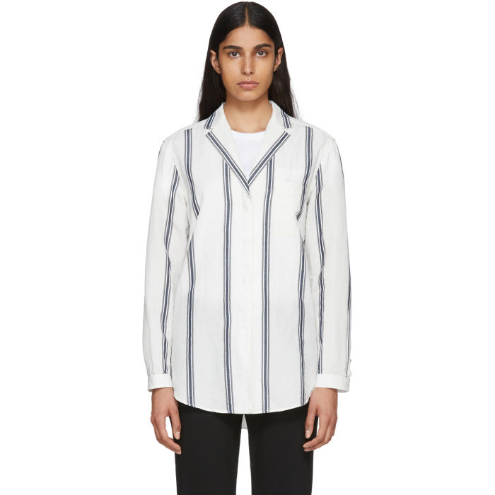 a429b29f9 RAG AND BONE OFF-WHITE AND NAVY ALYSE STRIPED SHIRT