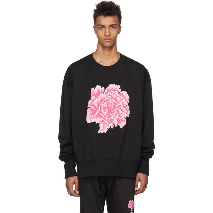 Crewneck Cotton Flower Sweatshirt, Black