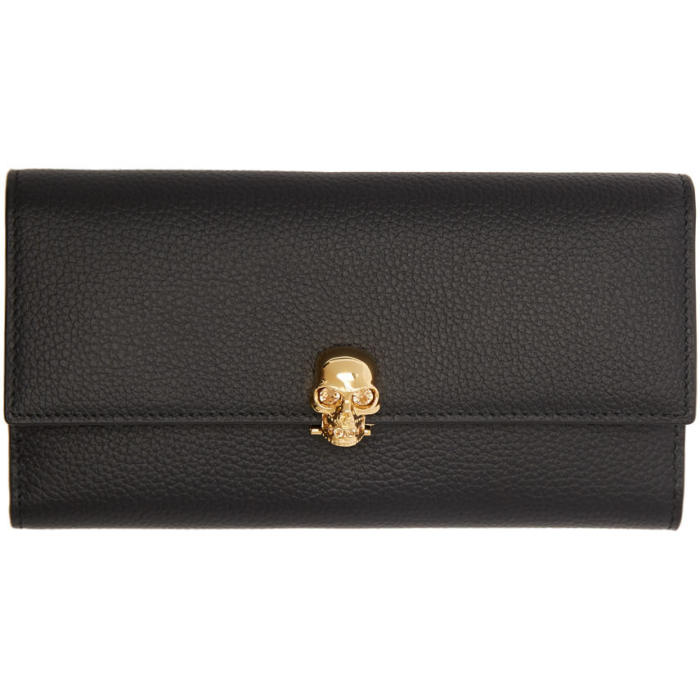 Alexander McQueen Black and Gold Skull Wallet thumbnail
