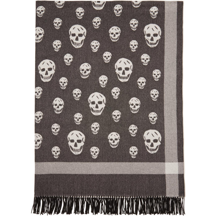 Black & Off-White Big Skull Shawl Scarf