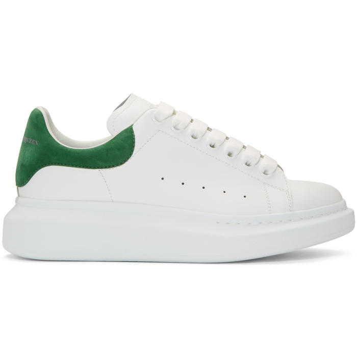 Exaggerated-Sole Leather Sneakers, 9040Whtrose