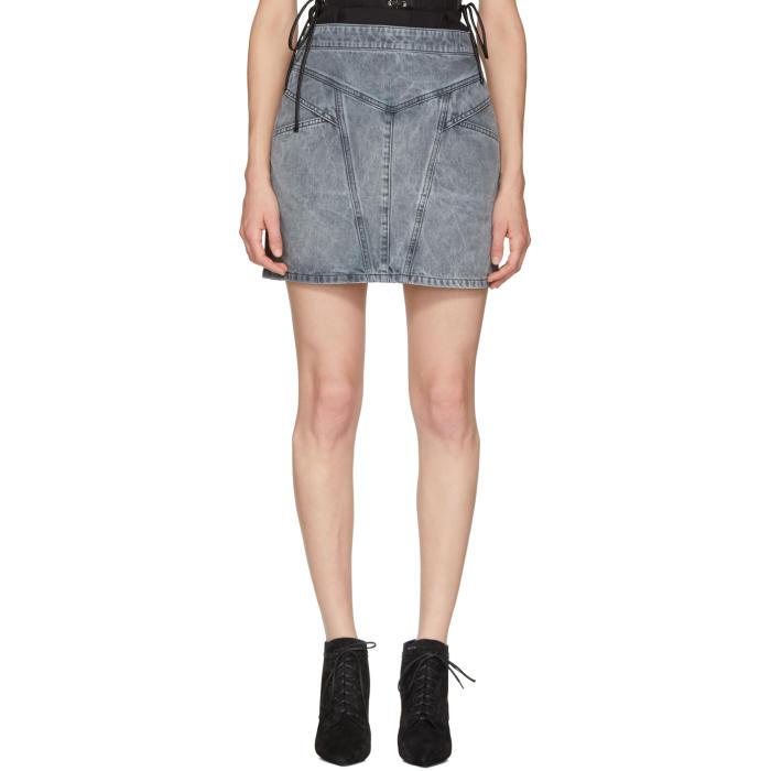Panelled Denim Mini Skirt in Grey