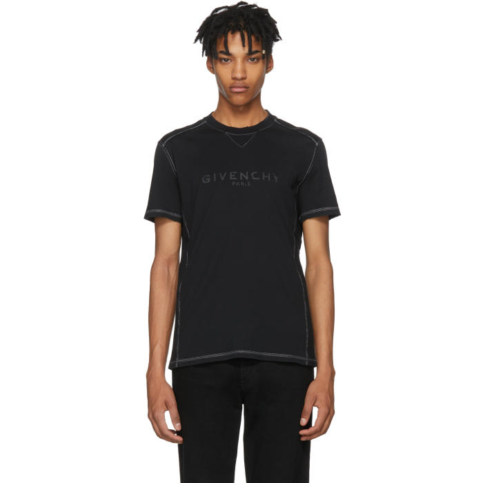GIVENCHY Columbian-Fit Distressed Logo Print T-Shirt, 001 Black