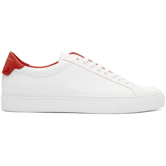 Givenchy Men's Urban Street Leather Low-Top Sneakers In 112 Wht/Red