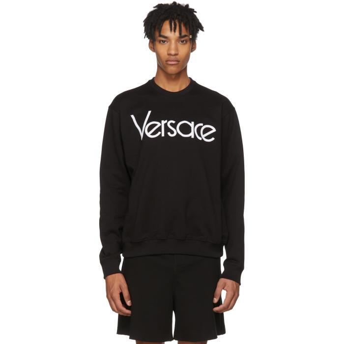 VERSACE 1990 Logo-Embroidered Cotton Sweatshirt, A99C Black