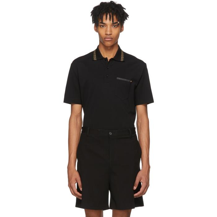 Men'S Greek Key-Trim Polo Shirt in Black