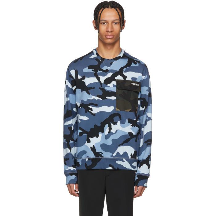 VALENTINO Camouflage Cotton Blend Sweatshirt, F64 Blue