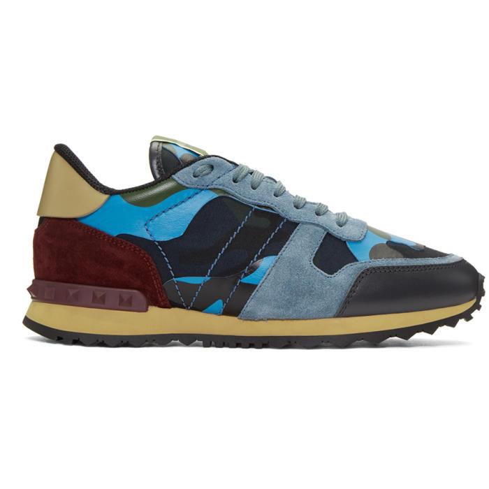 Navy and Blue Valentino Garavani Camo Rockrunner Sneakers Valentino ki0j25C3