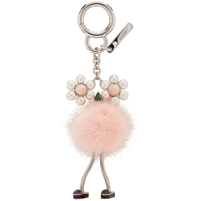 Chick Pompom Mink With Pearl Eye Bag Charm in F137L Seash