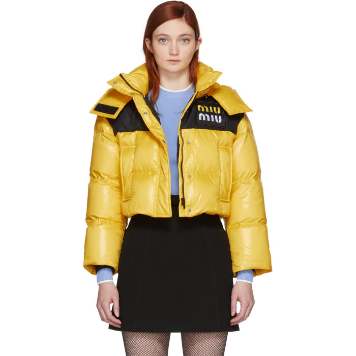 Cropped Puffer Jacket in Yellow