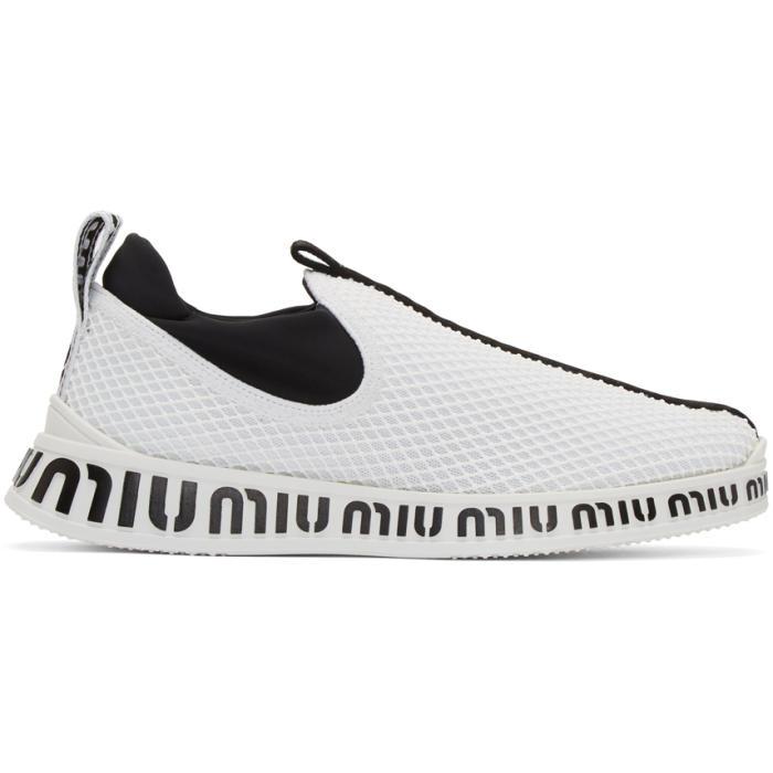 MIU MIU WHITE AND BLACK EMBOSSED SLIP-ON SNEAKERS