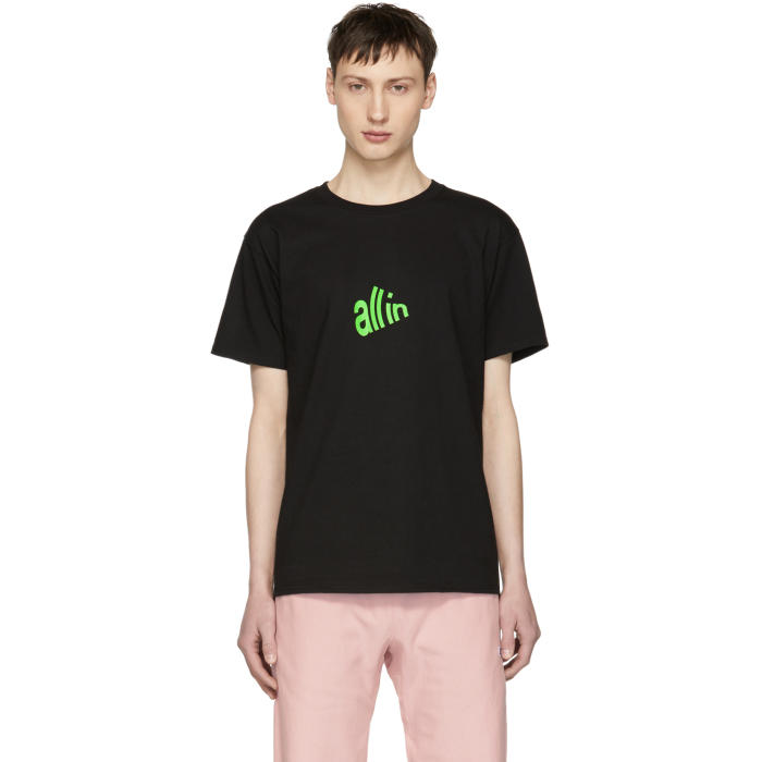 ALL IN SSENSE EXCLUSIVE BLACK AND GREEN SIGNAL T-SHIRT