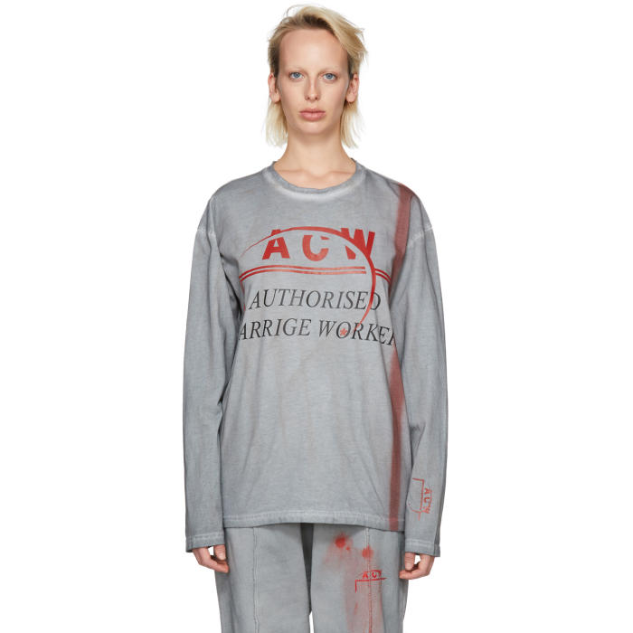 A-COLD-WALL* GREY AND RED LONG SLEEVE AUTHORISED CARRIGE WORKER T-SHIRT