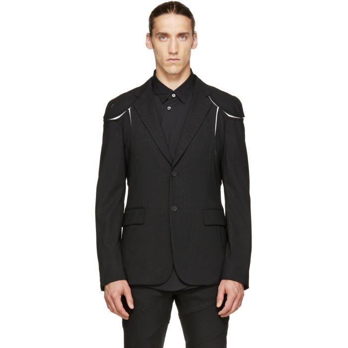 Comme des Garçons Homme Plus Black Pinstriped Cut-Out Blazer