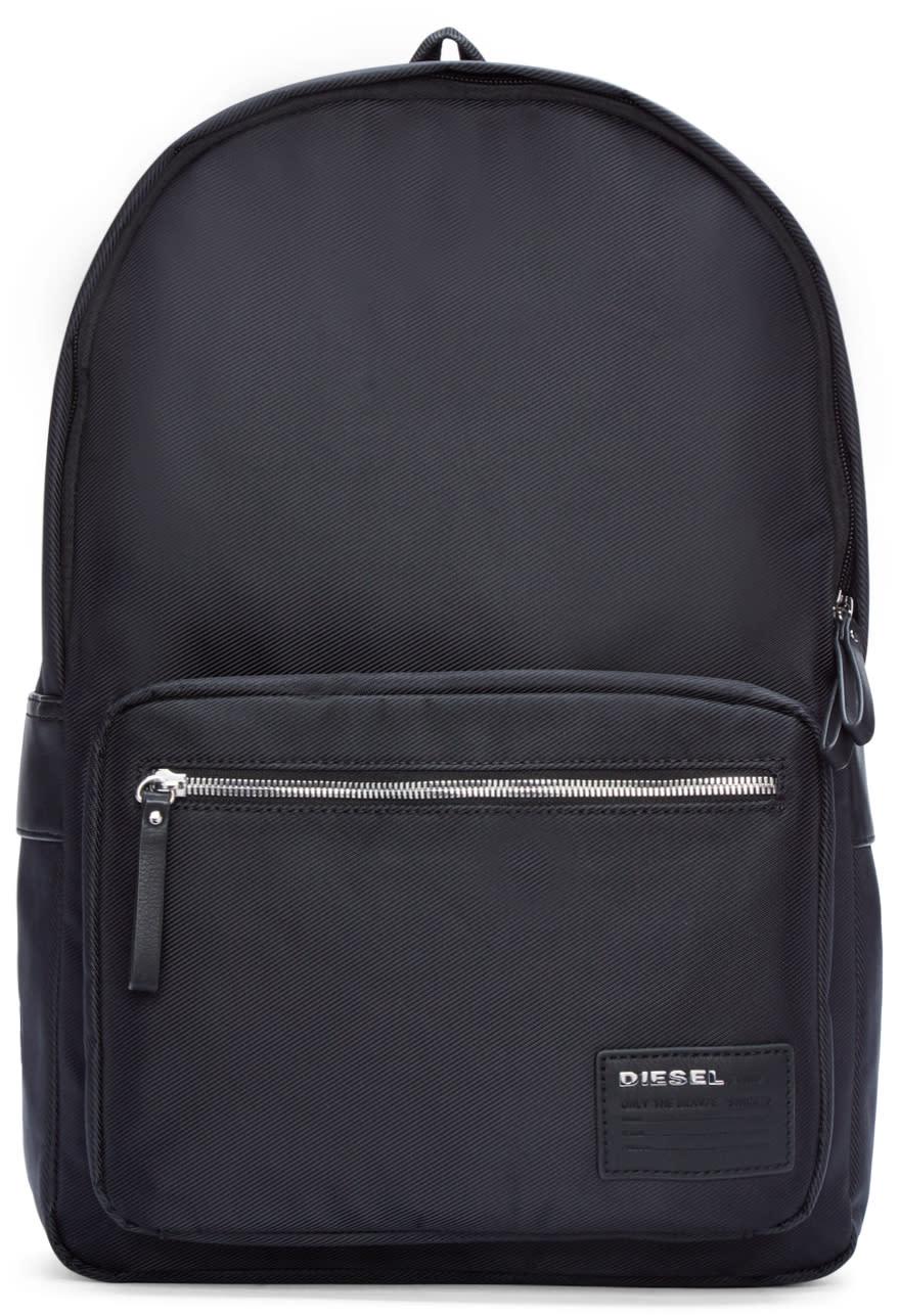 Diesel Black Coated Canvas Drum Roll Backpack