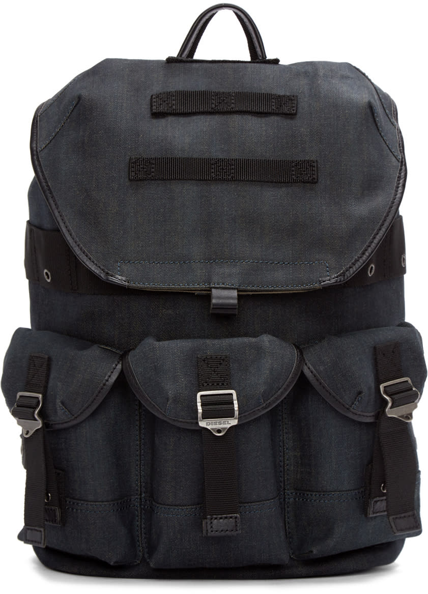 Diesel Blue Denim Breaking Backpack