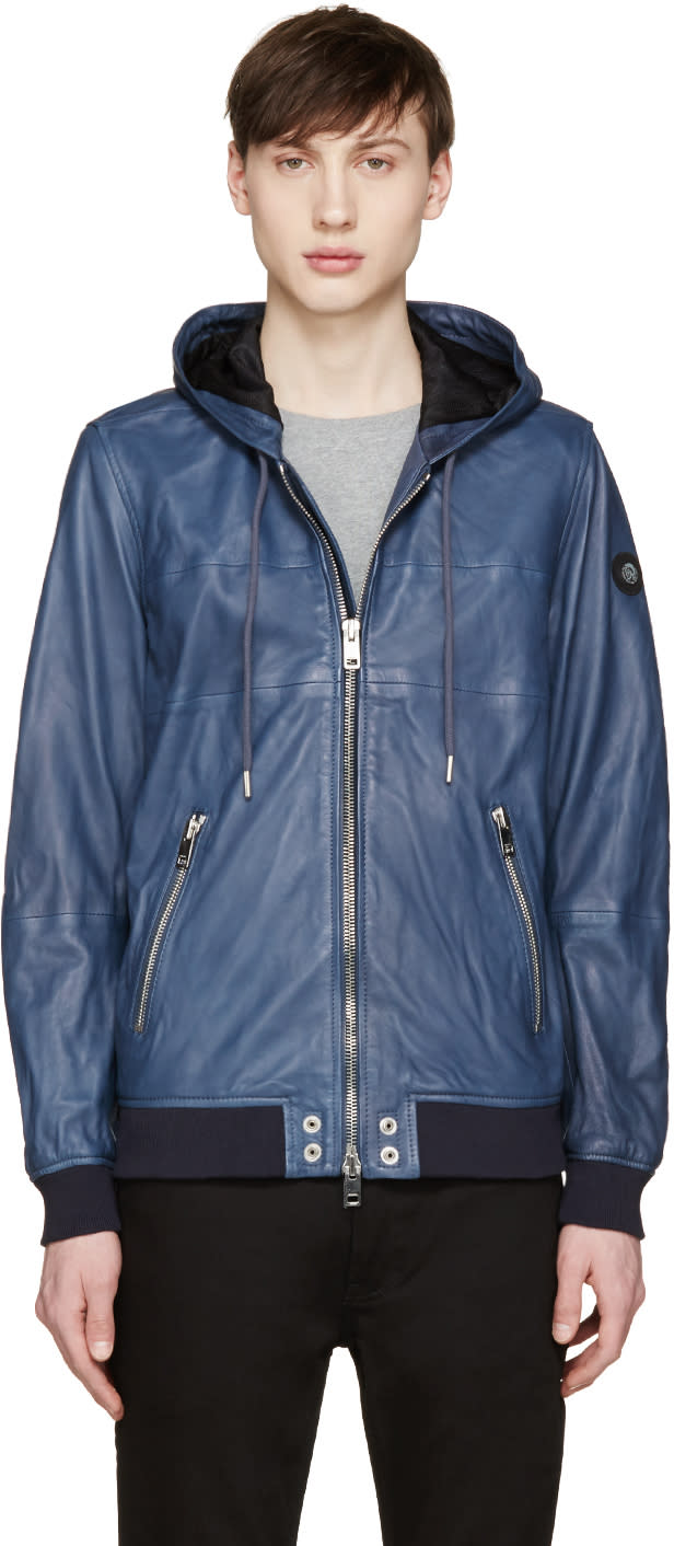 Diesel Blue Leather Collins Hoodie