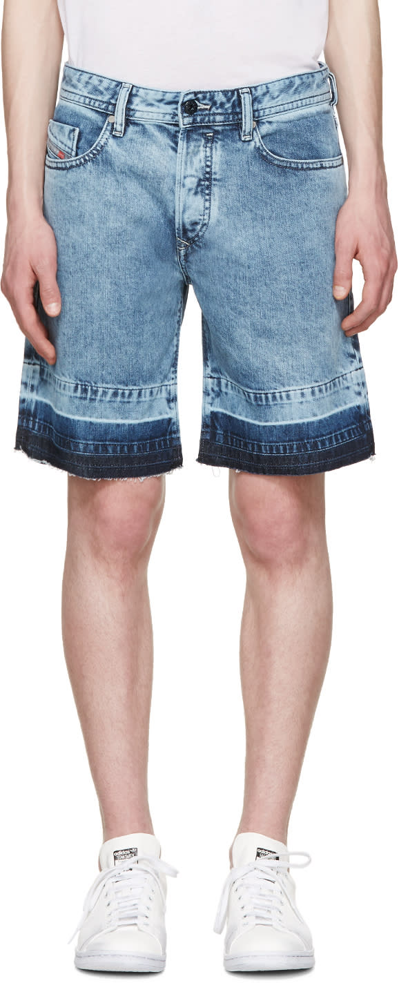 Diesel Blue Denim Bust-re Shorts