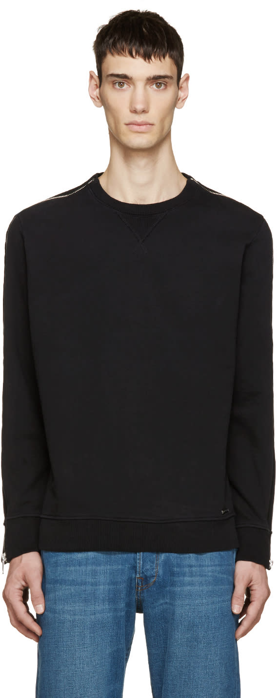 Diesel Black Zipper S-mart Sweatshirt