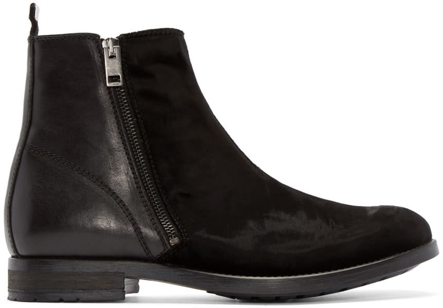 Diesel Black Velvet and Leather Boots