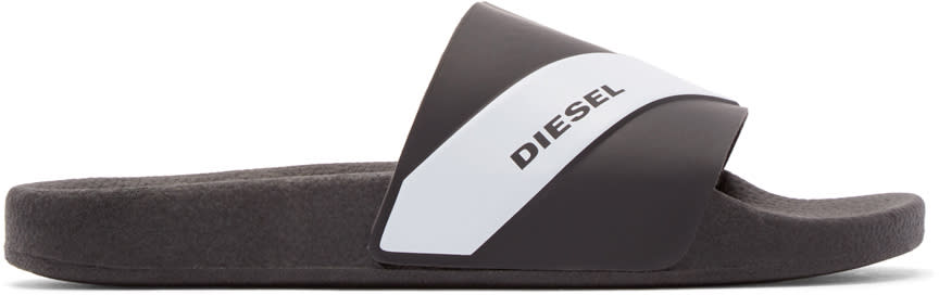 Diesel Black Rubber Maral Sandals