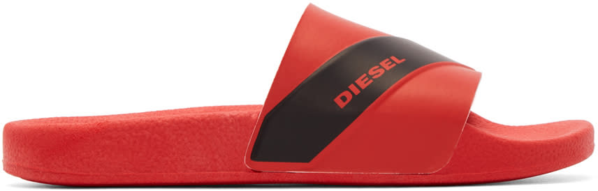 Diesel Red Rubber Maral Sandals