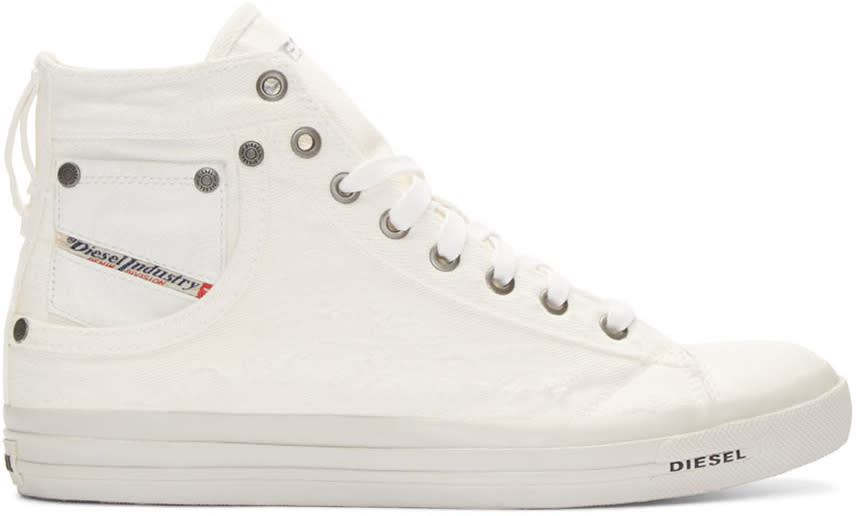 Diesel White Canvas Exposure High-top Sneakers
