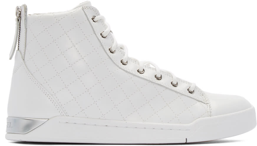 Diesel Ivory Quilted Diamond High-top Sneakers