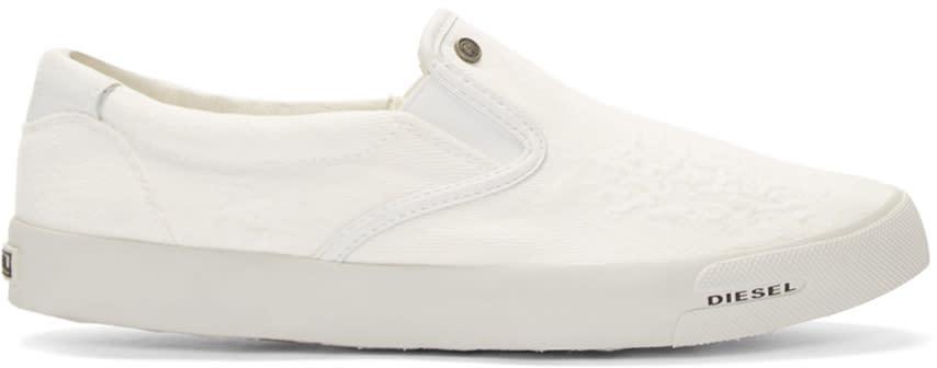 Diesel White Slip-on Sub-ways Sneakers