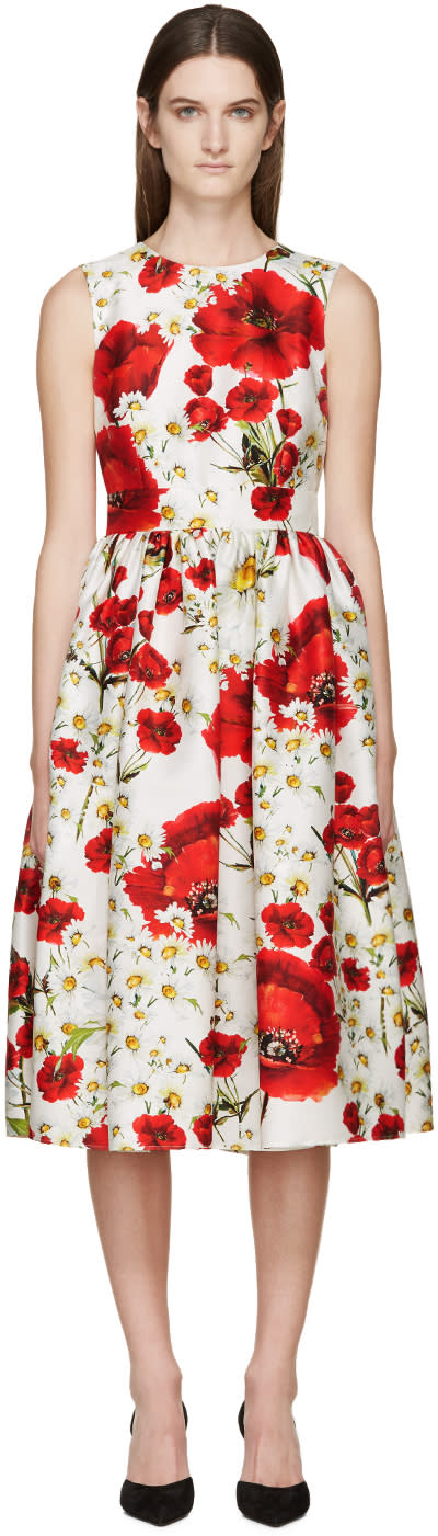 Dolce and Gabbana White Floral Open-back Dress