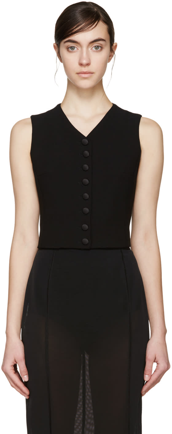 Dolce and Gabbana Black Wool Waistcoat