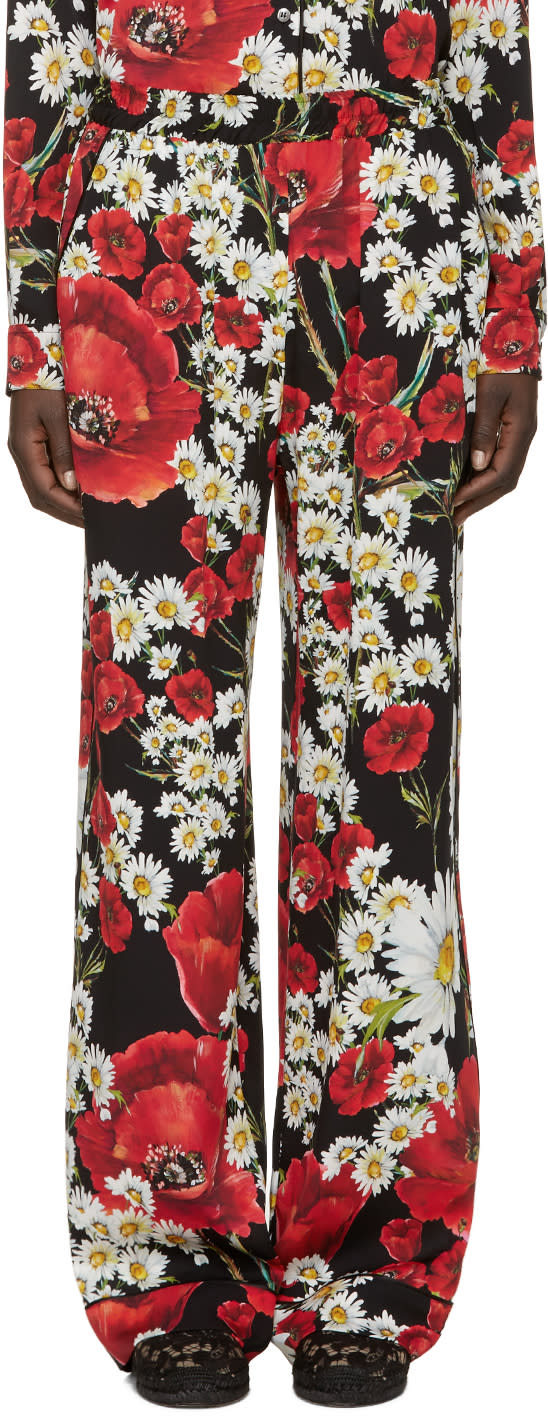 Dolce and Gabbana Red Floral Lounge Pants