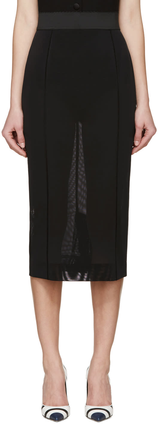 Dolce and Gabbana Black Mesh Pencil Skirt