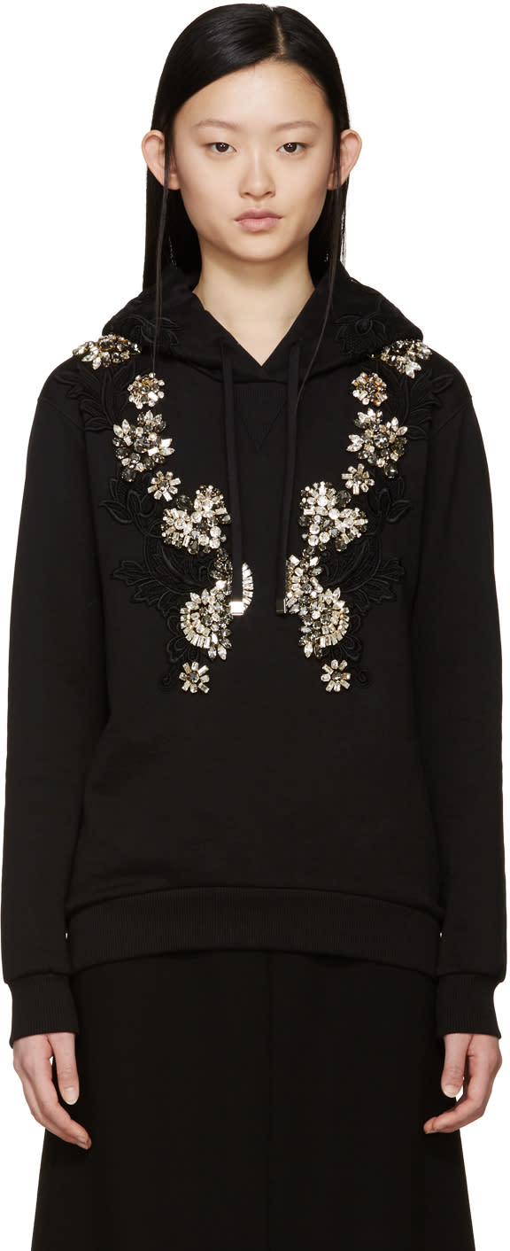 Dolce and Gabbana Black Embellished Hoodie