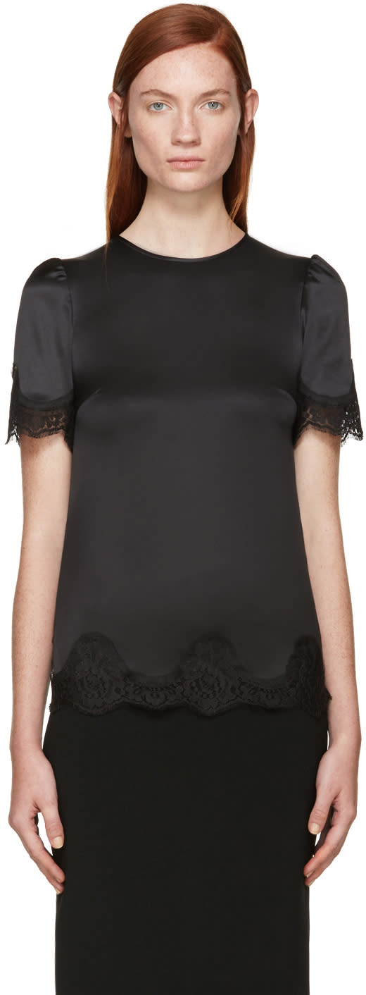 Dolce and Gabbana Black Silk Lace Trim Blouse