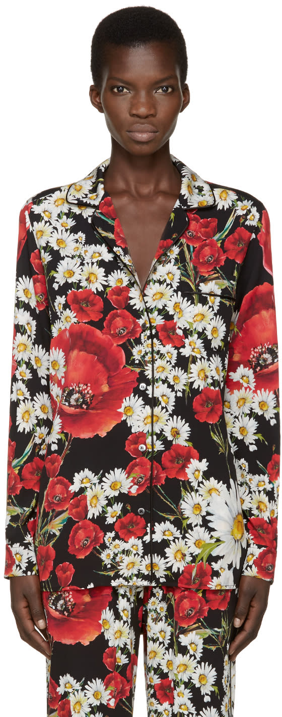 Dolce and Gabbana Red and Black Floral Pyjama Shirt