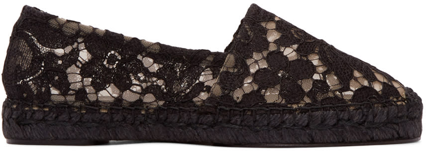 Dolce and Gabbana Black Lace Espadrilles