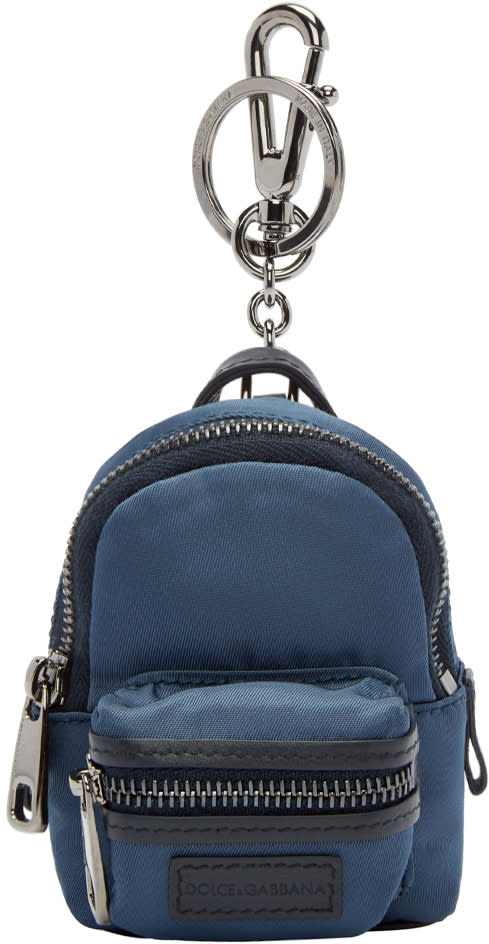 Dolce and Gabbana Navy Mini Backpack Keychain