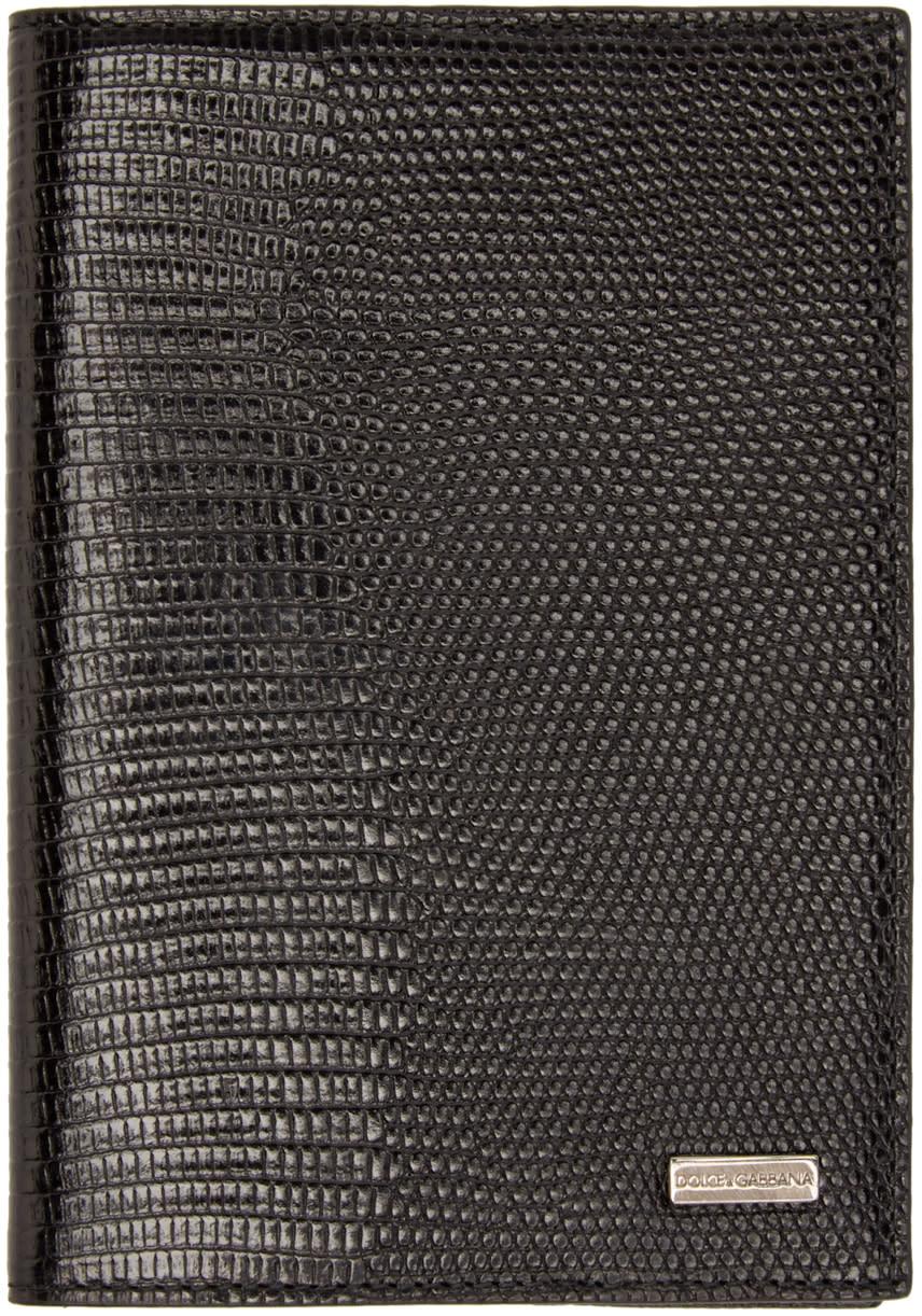 Dolce and Gabbana Black Lizard Passport Holder