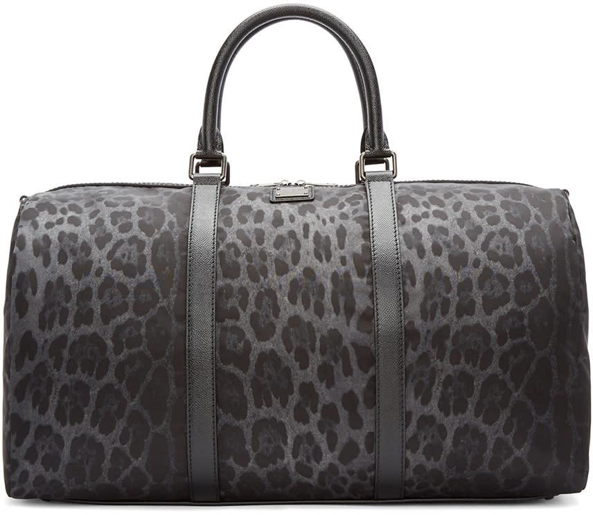 Dolce and Gabbana Grey Nylon Leopard Duffle Bag