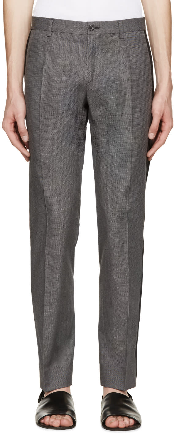 Dolce and Gabbana Grey Striped Fantasia Trousers
