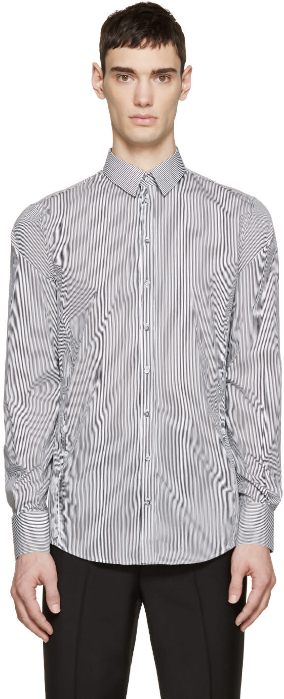 Dolce and Gabbana Black and White Striped Sicilia Shirt