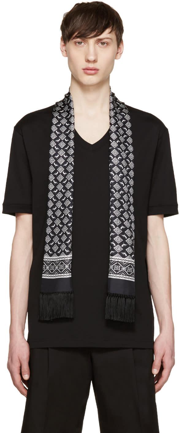 Dolce and Gabbana Black Bird Scarf T-shirt