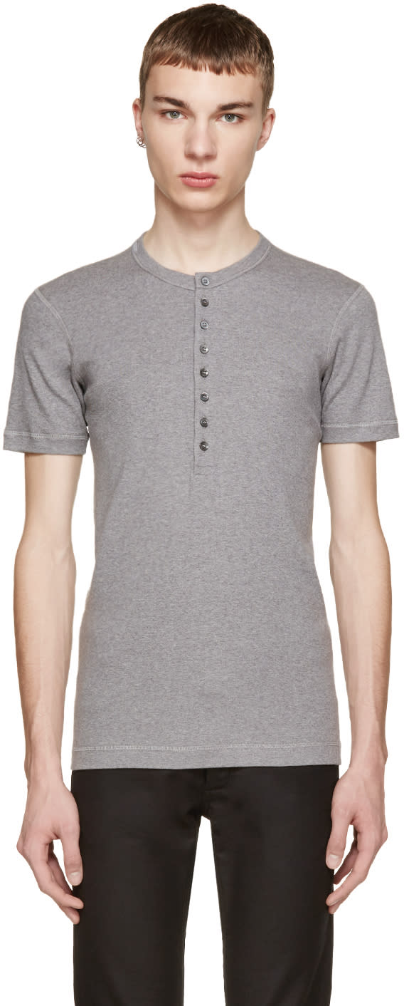 Dolce and Gabbana Grey Jersey Henley