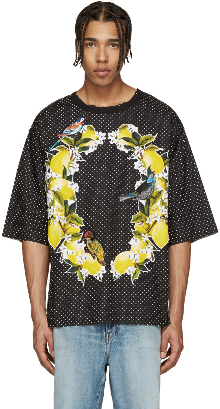 Dolce and Gabbana Black Polka Dot Bird T-shirt